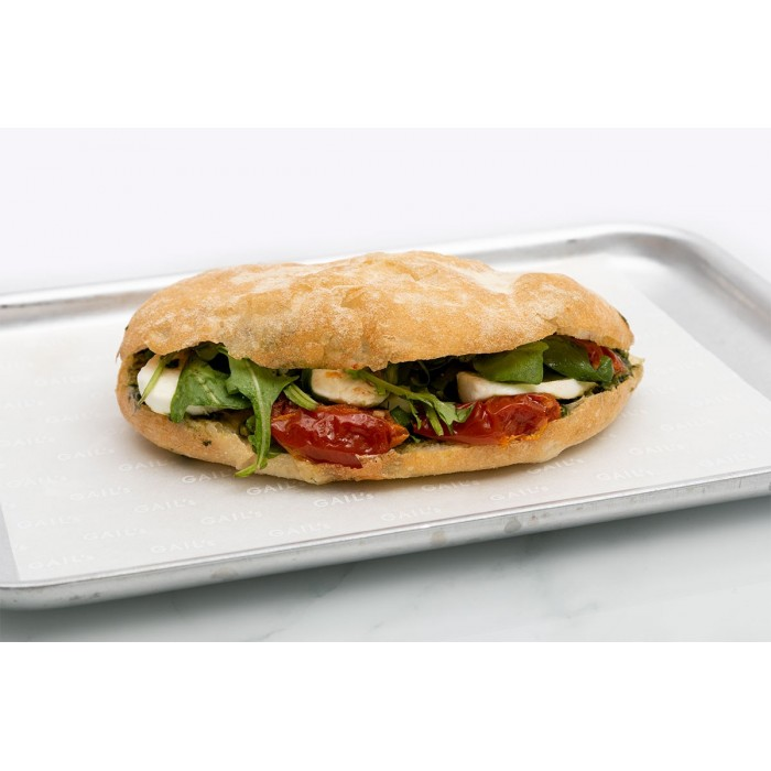 Mozzarella, pesto & semi-dried tomato on flat bread