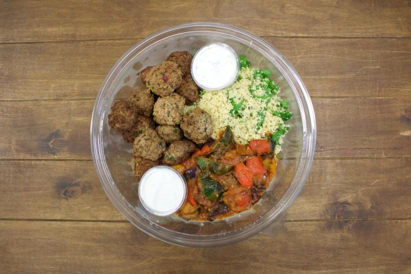 Lamb & beef kofta, roasted summer vegetables & wholemeal couscous bowl