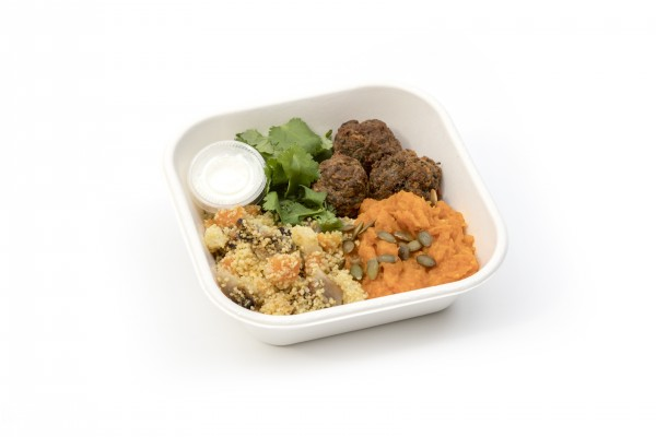 Lamb & beef kofta, winter veg couscous & spicy pumpkin puree with a feta dressing