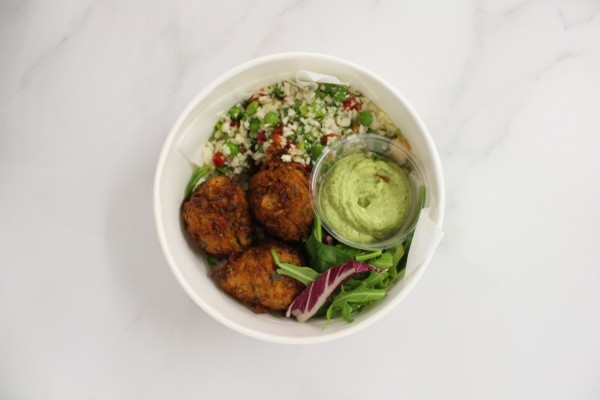 Vegetable cakes, raw cauliflower & green tahini