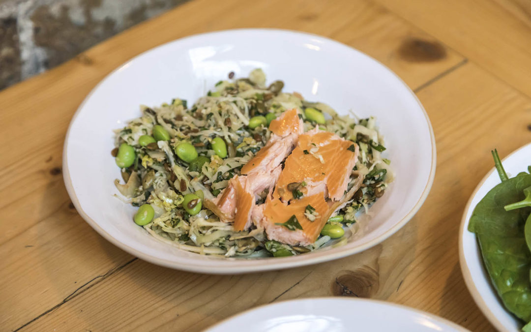 Asian Slaw with Hot Smoked Salmon